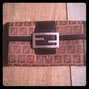 FENDI Canvas & Brown Leather Wallet